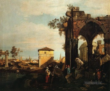 capriccio with ruins and porta portello in padua Canaletto Ölgemälde